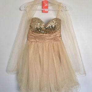 Dresses & Skirts - Gold Sequin Strapless Dress